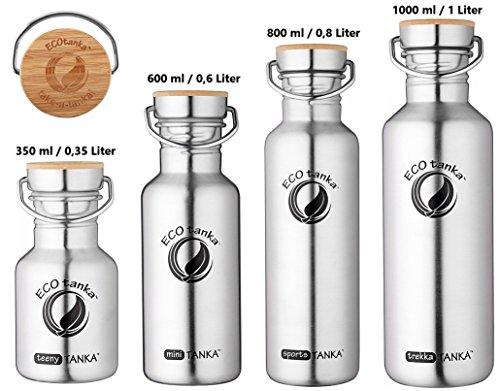 ECOtanka 350ml / 600ml / 800ml / 1000ml Edelstahl-Trinkflasche, Bambus-Verschluss, BPA-frei, Ökologisch, robust
