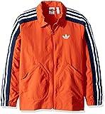 adidas Originals Boys' Big Nylon Coach Jacket, legend marine/white, Small