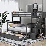 MWKL La litera más Nueva de Escalera de Color Gris con Nido, Almacenamiento y barandilla de tamaño Doble, para Dormitorio, Dormitorio