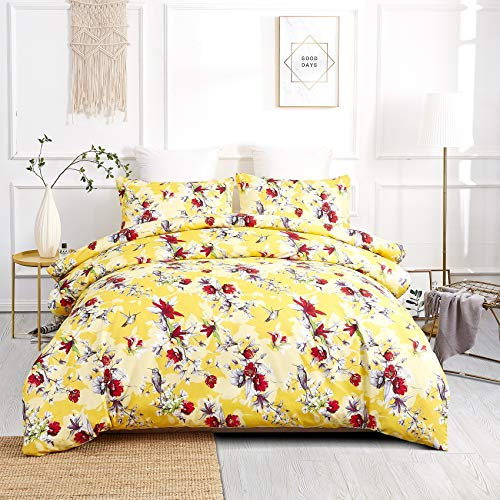 DaDa Bedding Radiant Sunshine Duvet Cover - Yellow Farmhouse Floral Hummingbirds w/Pillow Cases - Bright Vibrant Multi-Colorful Red Flowers - Very Soft Comforter Cover w/Corner Ties - King - 3-Pieces
