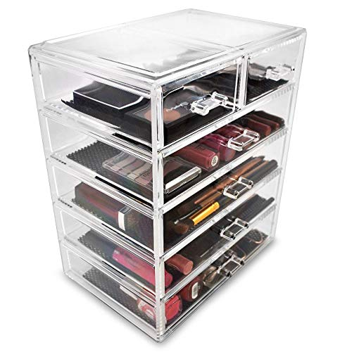 Sorbus Cosmetics Makeup and Jewelry Big Storage Case Display - Stylish Vanity, Bathroom Case (4...