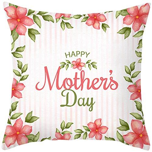 KnBoB Funda de Almohada Poliéster Blanco Verde Rojo Happy Mother's Day Flores 45 x 45 cm Estilo 5