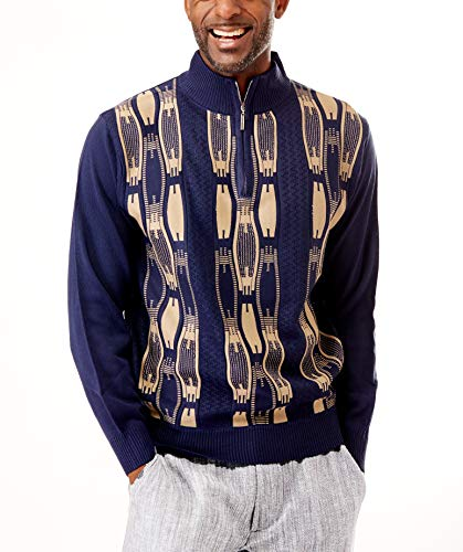 STACY ADAMS Men's Sweater, Vertical Neo Chain Front Design (3XL, Navy)