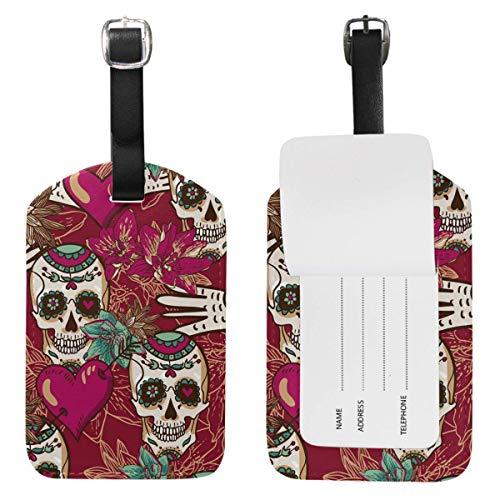 Etiquetas de equipaje con diseño de calavera de rosas en forma de corazón para maleta de viaje, 1 unidad