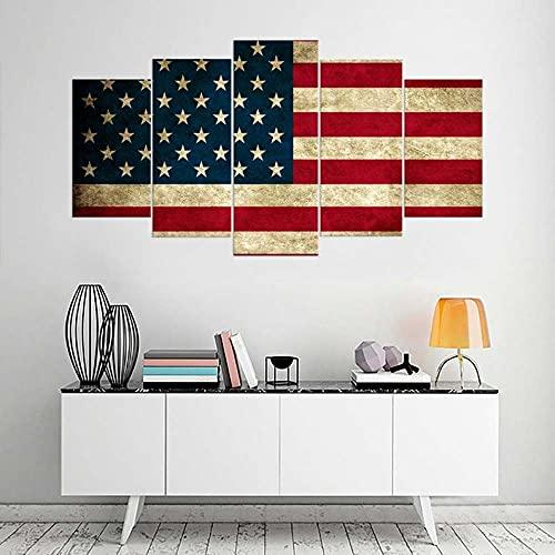 Composición de 5 Cuadros de Madera para Pared Bandera de EE.UU Impresión Artística Imagen Gráfica Decoracion De Pared Abstracto 150 * 80cm con Marco