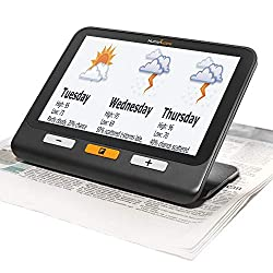 "Humanware 7"" electronic magnifier reading the news paper"
