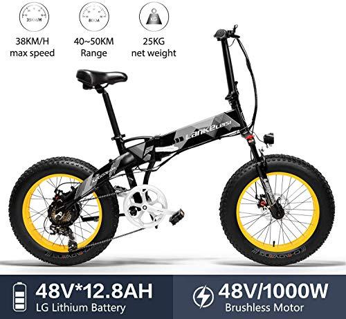 Nonbrand LANKELEISI X2000 20-Zoll-Fatbike Falt-E-Bike 7-Gang-Snowbike 48V 12,8ah 1000W Motor Aluminiumlegierung Rahmen 5 PAS Mountainbike (Gelb)