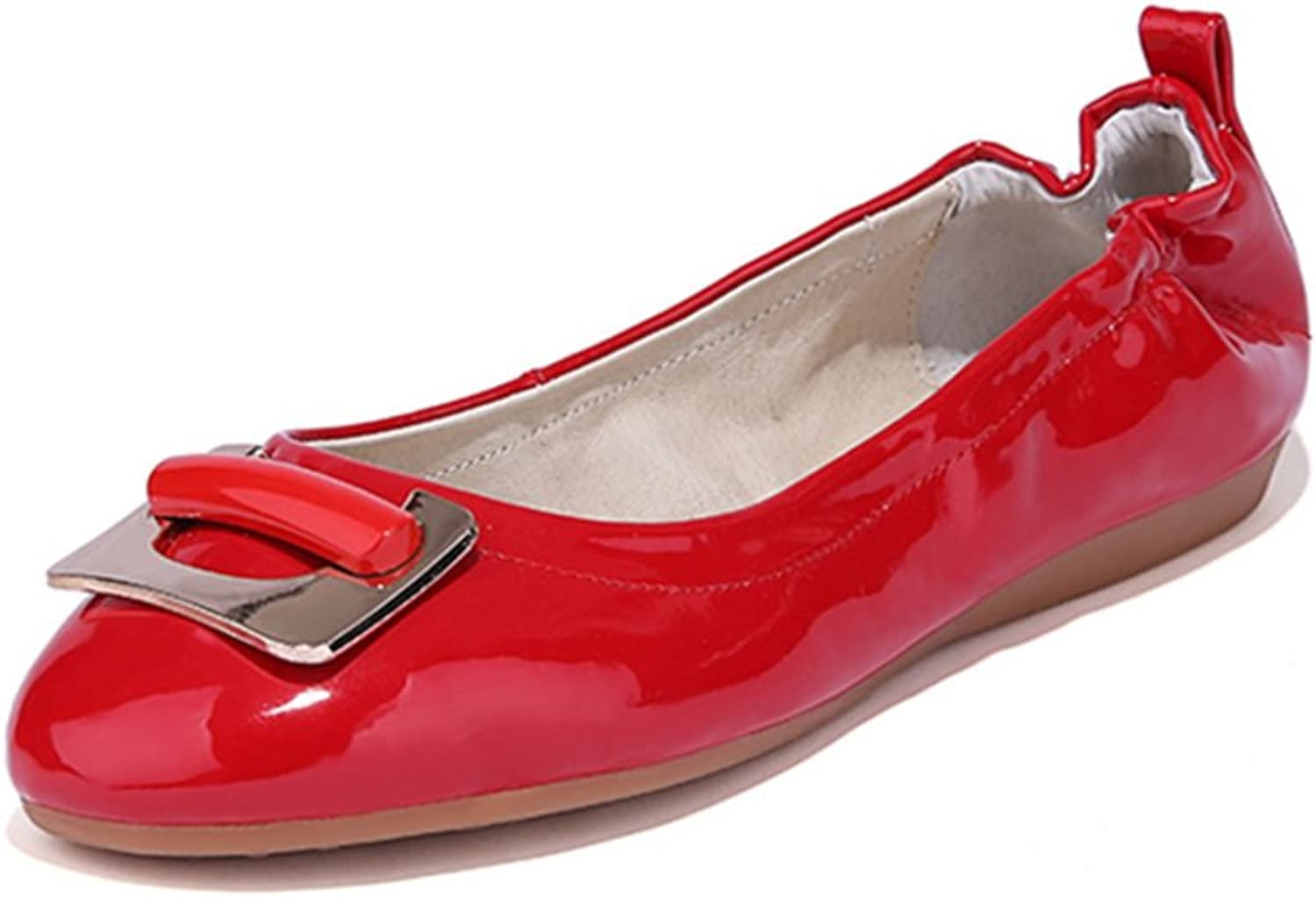 RHFDVGDS Soft Comfortable Folding Egg Rolls at The end of The shoes Summer Head Square Buckle shoes Shallow Flats shoes Pregnant Lady shoes