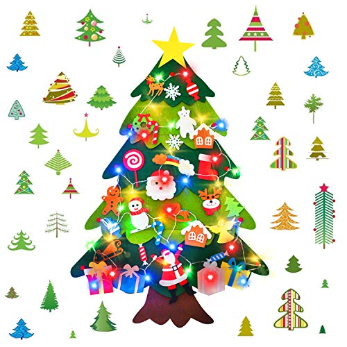 HWG Felt Christmas Tree with 30 Pcs Detachable Ornaments, 3.4 FT DIY Christmas Decorations for Kids Toddlers Xmas Gifts Door Wall Hanging Decorations