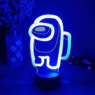 Among_us Luz nocturna 3D Illusion Juegos de astronauta lámpara de mesa con personajes alimentado por USB, 7 colores luces LED con interruptor táctil para niños regalos decoración de dormitorio