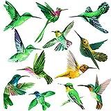 Pegatinas autoadhesivas para ventana, anticolisión de pájaros, para ventanas, decoración primaveral, lámina de PVC, 12 grandes pegatinas anticolisión