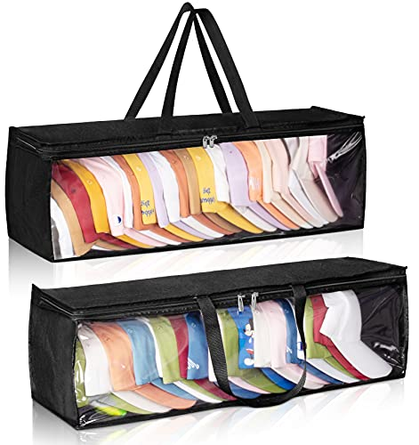 MISSLO 2 Packs Hat Organizer for Baseball Caps for Closet Cap Storage Organizer with Durable Handles Large Hat Holder for Travel, Black