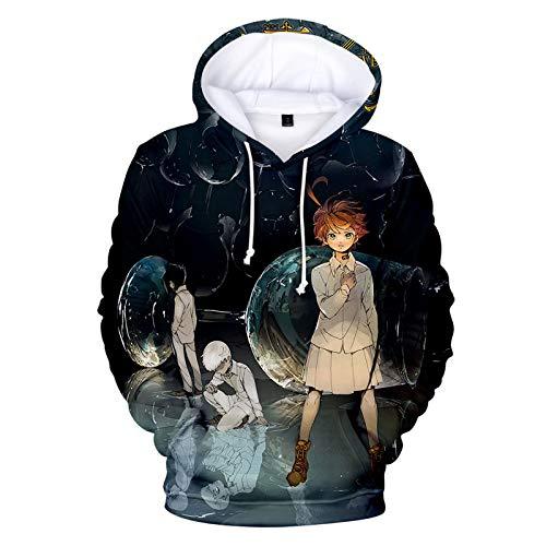 YZJYB Anime The Promised Neverland Sudadera con Capucha 3D Impresin Emma Hombre Manga Larga Casual Hipster Deportivas Hoodie Ropa Deportiva con Cordn,XXXX~Large