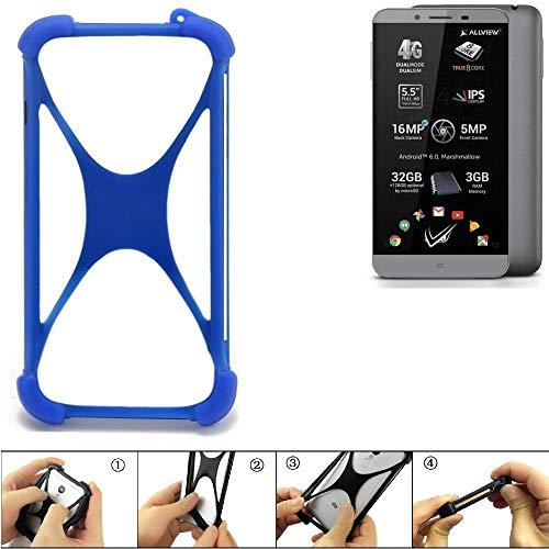 K-S-Trade® Handyhülle Für Allview V2 Viper S Silikon Schutz Hülle Cover Case Bumper Silikoncase TPU Softcase Schutzhülle Smartphone Stoßschutz, Blau (1x),