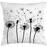 Funda de cojín Nature Throw Pillow, Ilustración abstracta de la silueta de las semillas voladoras de diente de león en tonos oscuros, 45x45 cm