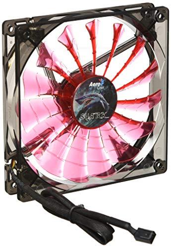 Aerocool SHARKR14 - Ventilador gaming para PC (14 cm, 15 aspas, LED, ultrasilencioso, antivibración, 12 V / 7 V), rojo