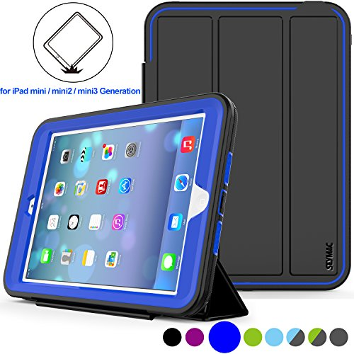 SEYMAC stock Case for iPad Mini 1/2/ 3 Case, (Not for mini5), [Heavy Duty ] Hard PC and Soft TPU [Smart Cover ] Auto Sleep Wake with Leather Stand Feature for iPadMINI1/2/3 (Blue)