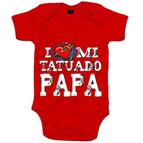 Body bebé I Love mi tatuado papá - Rojo, 12-18 meses