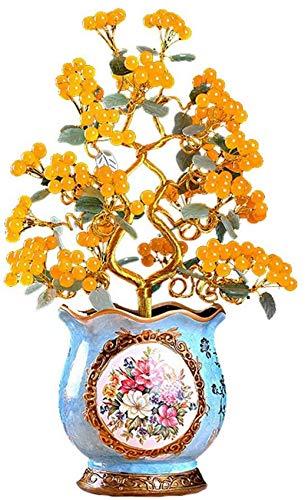Árbol de piedras preciosas de cristal Citrino Reiki Cristales curativos Cobre Árbol del dinero Adornos de cornucopia azul Feng Shui Luck Figurilla Estatua 20.8 pulgadas (Árbol de la riqueza) Feng Shu