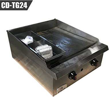 """NSF 24"""" Commercial Countertop Natural Gas Thermostatic Griddle - 60,000 BTU"""