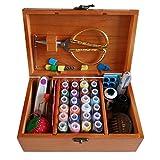 DDXTJ.DMM - Cestino da cucito in legno, con accessori per kit da cucito, scatola da cucito