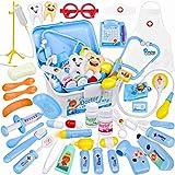 Sanlebi 35 Pièces Jouet Medical Enfant, Malette Docteur avec Deguisement Docteur Stéthoscope Medecin Outils Jeu d'imitation pour Enfant de 3+ Ans(Bleu)