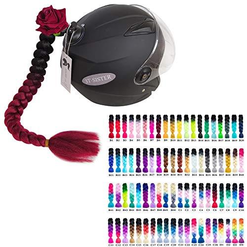 3T-SISTER Bowknot Helm geflochtener Pferdeschwanz Motorrad Fahrrad Helm Haar Zöpfe Haarteile für Erwachsene (Customised Rose Type)