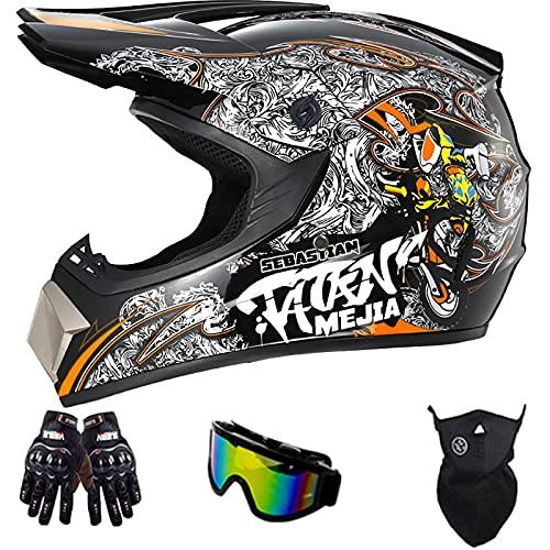 Casco De Motocross para Jóvenes, con Gafas Guantes Protección Facial Certificación Dot Casco De Seguridad para Accidentes De Bicicleta De Montaña para Adultos