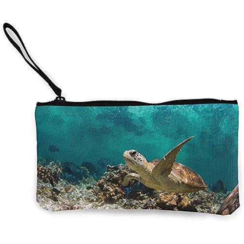 Ritssluiting, schildpad op zoek naar voedsel in het koraal canvas klassieke portemonnees voor partij zakenreizen,22(L) x12(W) cm
