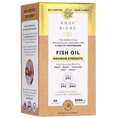 Aqua Biome by Enzymedica Fish Oil Maximum Strength Complete Omega 3 Supplement DHA EPA DPA NonGMO 60 Softgels 30 Servings