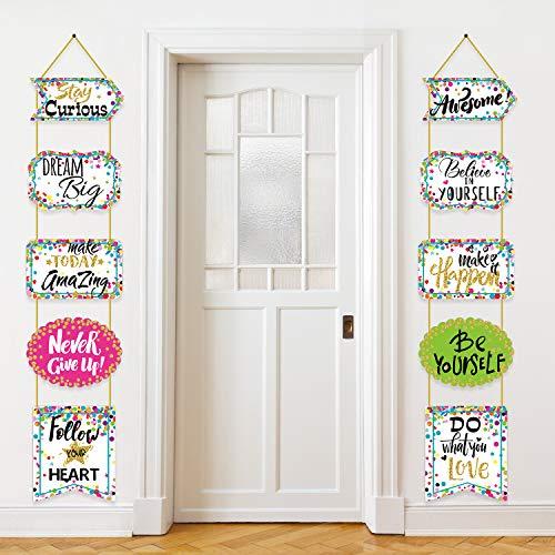 Decoración del aula Banner Motivación Positivo Porche Signos Confeti Refranes Positivos Acentos Para el Aula Decoraciones de Tablones de Anuncios, Oficina, Hogar, Decoración de Guardería