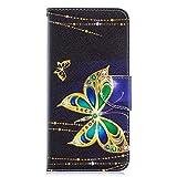 Coopay Motif Or Papillon PU Cuir Étui pour Samsung A70 Antichoc Noir Housse de Protection Pochette...