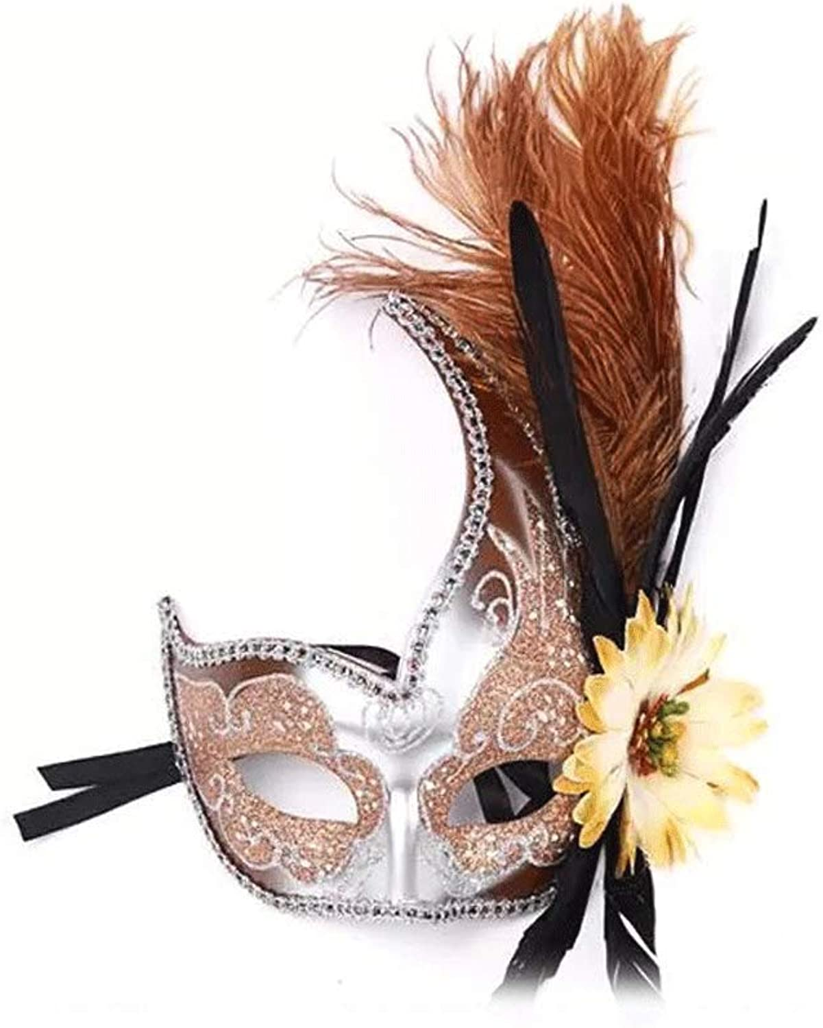 Nanle Halloween mask Half face Feather mask Venice Princess mask Beauty lace Masquerade Cosplay (color   Style B orange)