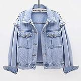 SHENSHI Denim Jacket Mujer,Chaqueta Vaquera Corta Holgada De Gran Tamaño con Lazo De Diamantes De Bolsillo Grande, Azul Claro, Mediana