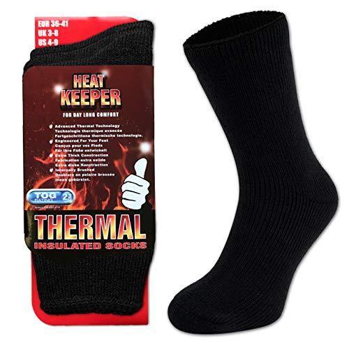 HEATEX Herren & Damen Thermosocken mit Kälteschutz Extrem Warm TOG 2.3 Vollfrottee Winter Thermo-Socken Gefüttert (1 Paar) Schwarz 41-46