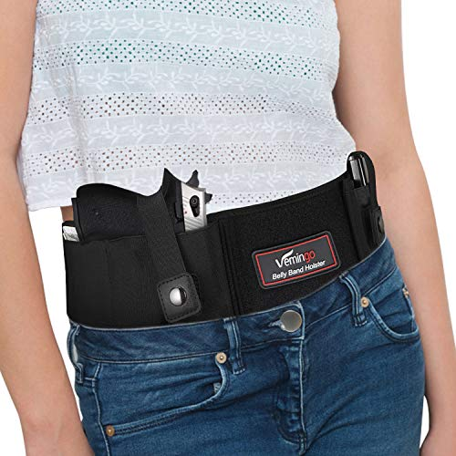 Vemingo Upgraded Belly Band Holster for Concealed Carry Right/Left Hand Gun 17, 19, 42, 43, P238, Ruger LCP Elastic Holder for Women and Men Running, Jogging, Hiking Waistband Holster for Pistols