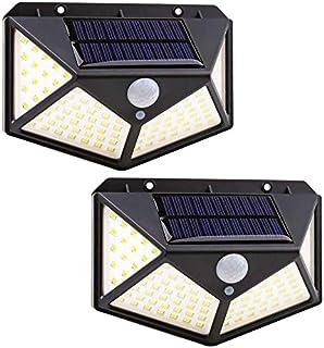 Luz solar LED exterior, focos solares de 100 LED de exterior con sensor de movimiento, 270º luces externas de energía sola...