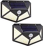 Luz solar LED para exteriores - Foco solar de 100 LED para exteriores con sensor de movimiento de 270º - Luz alimentada...