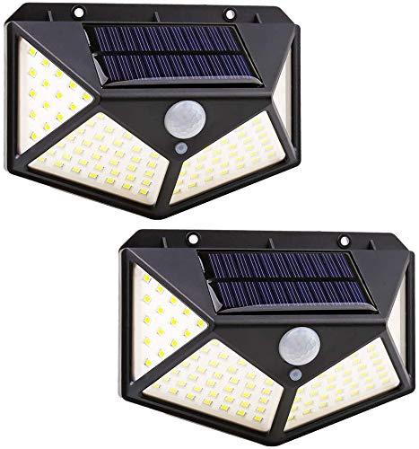 Luz solar LED para exteriores - Foco solar de 100 LED para exteriores con sensor de movimiento de 270º - Luz alimentada por energía solar - Impermeable - 3 Modos