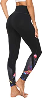 Women's High Waist Printed Yoga Pants with Pockets, Tummy Control Non See-Through 4 Way Stretch Athletic Yoga Leggings