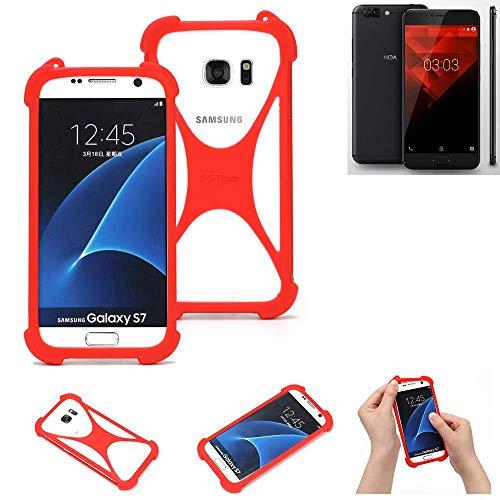 K-S-Trade® Handyhülle Für NOA H10le Schutzhülle Bumper Silikon Schutz Hülle Cover Case Silikoncase Silikonbumper TPU Softcase Smartphone, Rot (1x)