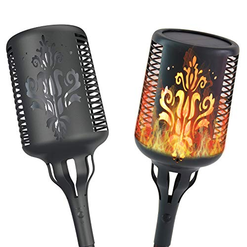 Aogist Solar Lights, Solar Flame Torch Lights Outdoor Waterproof Landscape Decoration Lighting Dusk to Dawn Auto On/Off Security Flickering Flames Lights for Yard Garden Patio (2 Pack)
