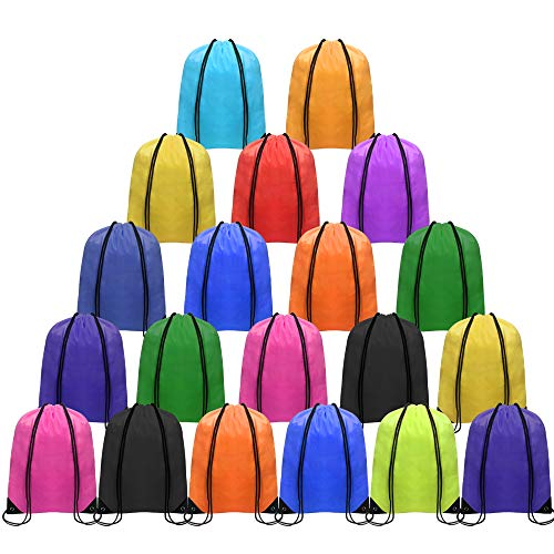 CHEPULA Multicolor Drawstring Backpack 20pcs, Polyester Drawstring Backpack for DIY, Sport Sack String for Travel, Exercise & Other Activities