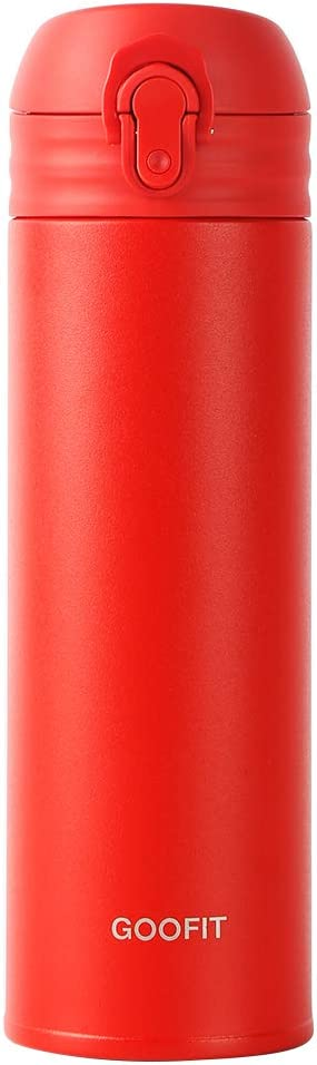 GOOFIT Water Bottle Double Wall Vacuum Insulated Thermos Beverage Bottle Stainless Steel Travel Mug 16 Ounce Red