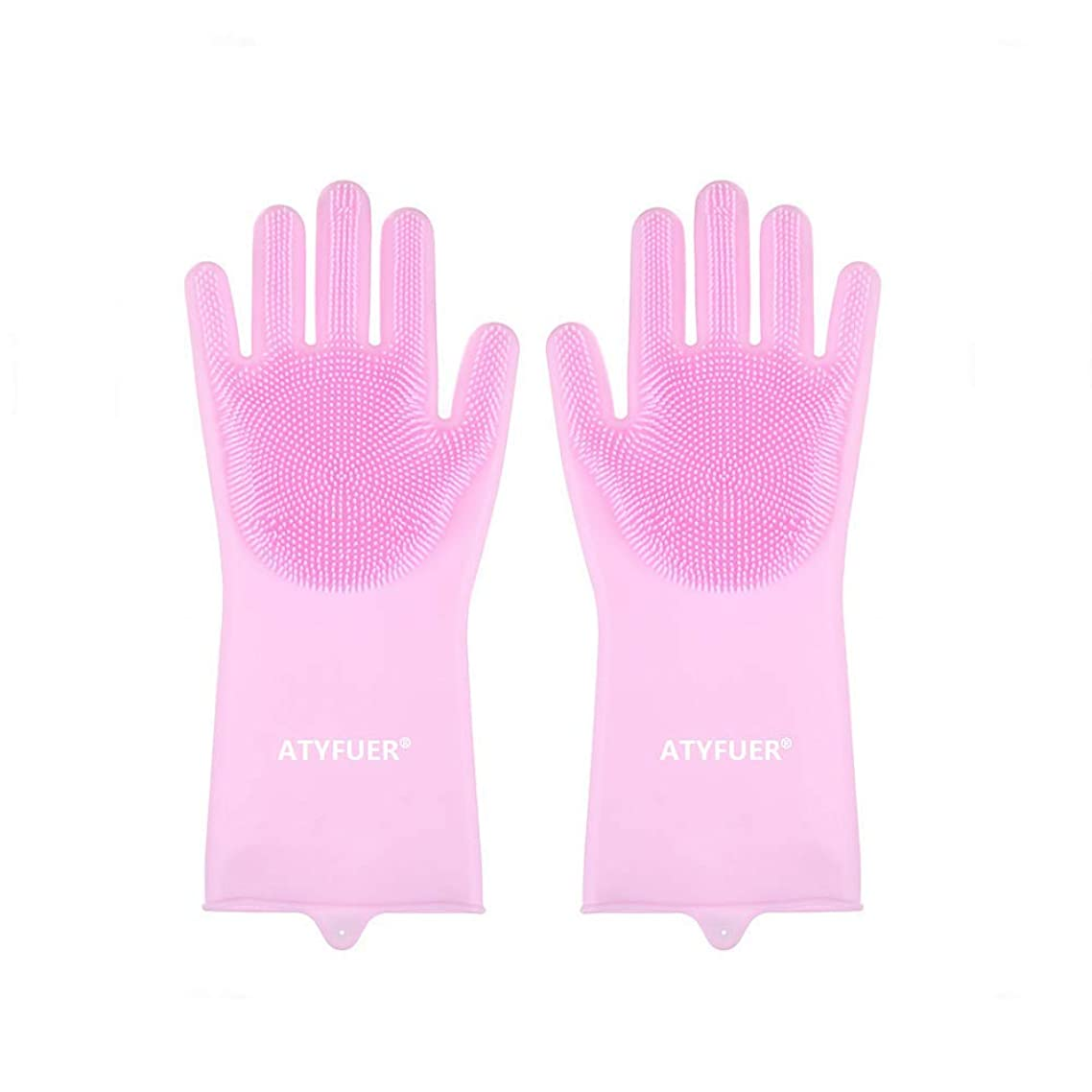 Ingenuitstore - Multifunctional Magic Silicone Gloves, Silicone Dishwashing Gloves, Kitchen Cleaning Gloves, Bathroom Cleaning, Household Cleaning, Heat Resistant Oven Gloves (Pink)