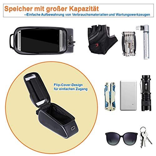 SNAWOWO Fahrrad Rahmentasche wasserdichte Fahrradtasche Oberrohrtasche Handytasche mit Sonnenblende Kopfhörerloch TPU Touchscreen Fahrrad Handyhalter für Smartphones bis 6.5 Zoll - 3