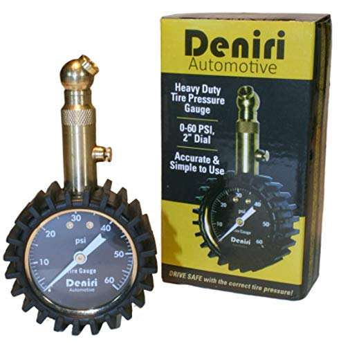Deniri Heavy Duty Tire Pressure Gauge – 0-60 PSI, Cars, Trucks, Motorcycles, RV's ATV's, Lawn Tractors, Bicycles, etc. - Certified ANSI B40.1 Accurate. Equipped with Built-in Air Bleeder, Solid Brass