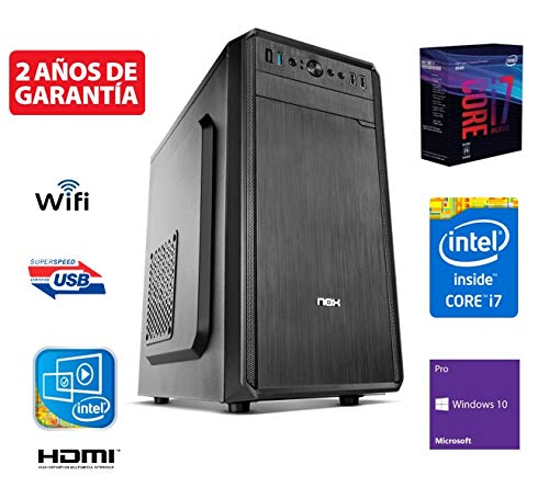 Megamania Ordenador de Sobremesa Intel Quad Core i7 up to 3,8Ghz x 4 Cores, 16GB RAM, Disco SSD 240GB + 1TB HDD Esclavo, RW DVD, USB 3.0, WiFi 300MPS, Dual Video HDMI