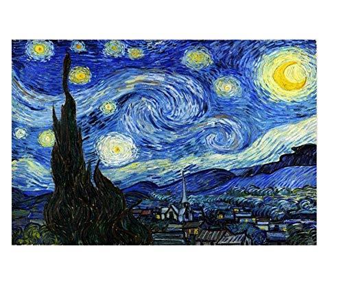 FDDPT Puzzle 1000 Piezas Cielo Estrellado Pintura Rompecabezas de Madera para Adultos Juego Familiar 75x50cm