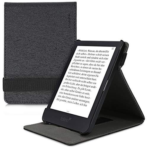 kwmobile Hülle kompatibel mit Tolino Shine 3 - Schlaufe Ständer - e-Reader Schutzhülle - Schwarz